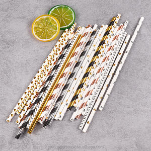 2021 factory new design biodegradable striped metal gold paper straws wholesale