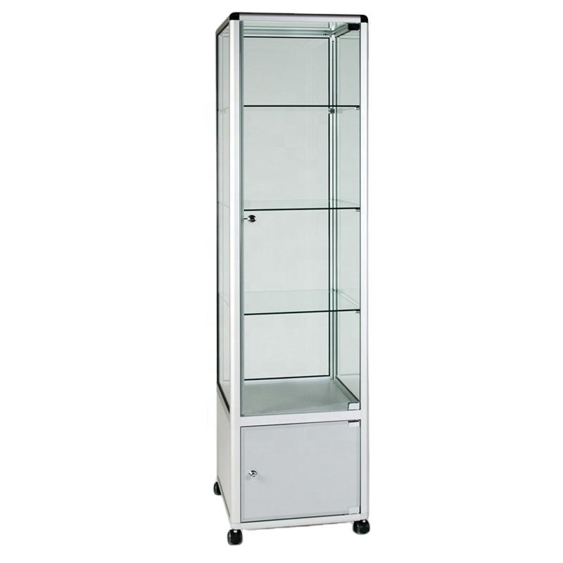 good quality aluminum frame Glass Display Cabinet Tower with 3 Shelves and Storage Cupboard