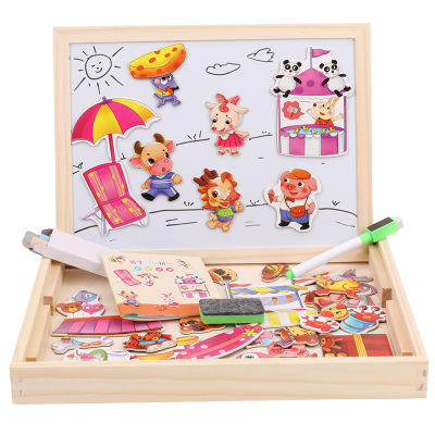 2020 New Design Wooden Puzzle Drawing Board Magnetic 3d Jigsaw Puzzle