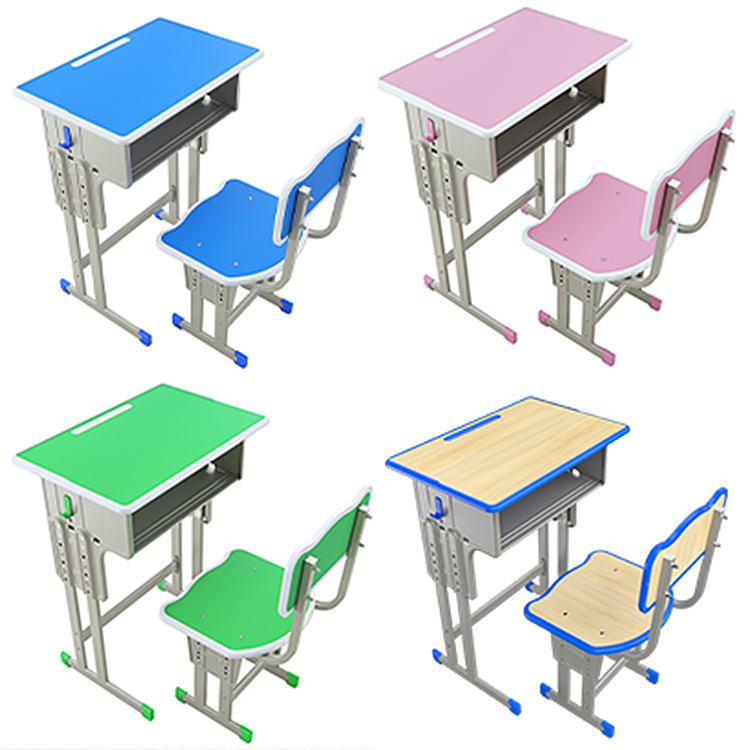2020 hot sell single wood double metal colors school student study furniture table desk for classroom