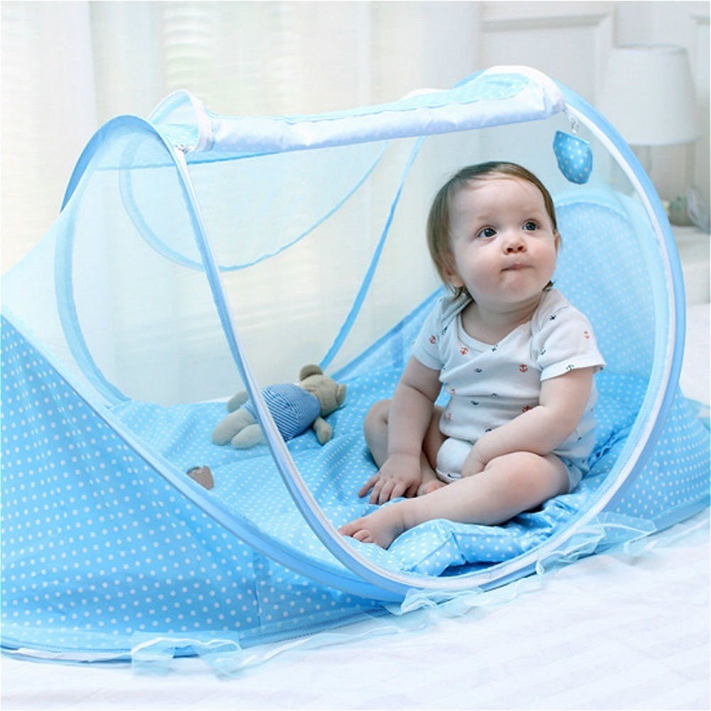 Dropshipping Baby Crib Netting Portable Foldable Baby Bed Mosquito Net Polyester Newborn Sleep Bed