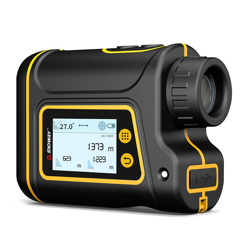Sndway SW-1500B Rechargeable laser rangefinder 1500m laser measure digital distance meter flagpole locking