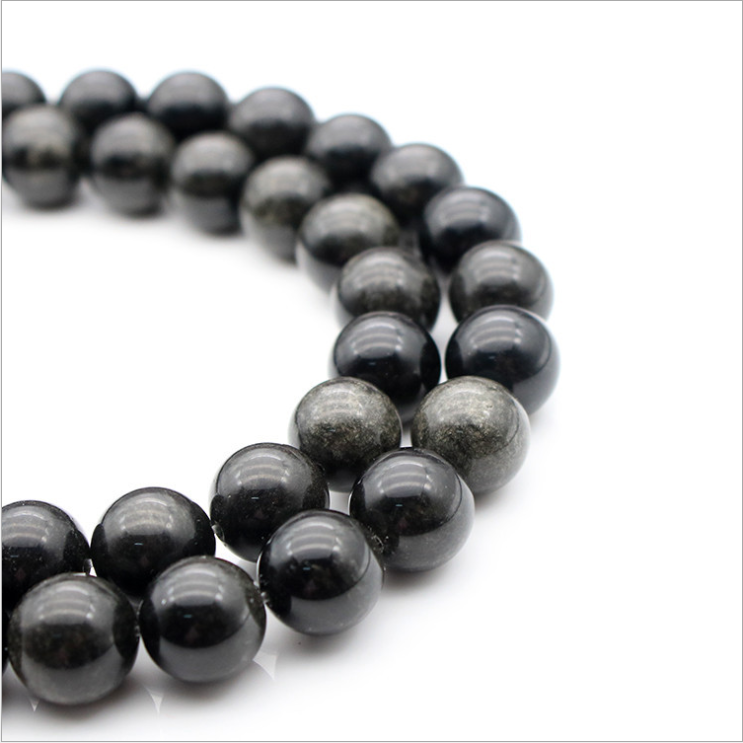 Natural Loose Round Stone Beads Obsidian Wholesale For DIY Necklace Bracelet Jewelry Making 4mm6mm8mm10mm12mm