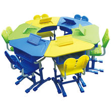 China adjustable height desk school kids furniture classroom tables and chairs set