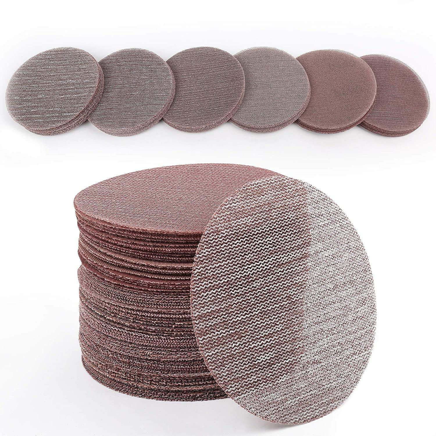 Customized 5 Inch 125mm Hook and Loop Mesh Sanding Discs, 60PCS Aluminum Oxide 60-320 Grit Abrasive Mesh Disc Sandpaper
