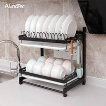 2 Tiers Kitchen Organizer Drainer Stand Plate Storage Holders Shelf Dish Drying Rack