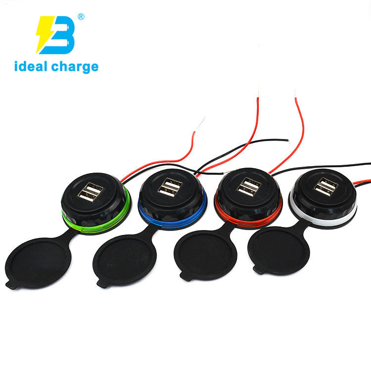 Easy Install Car usb Power Supply 5v 3.1a Dual Usb Car Charger with Cable Built-in