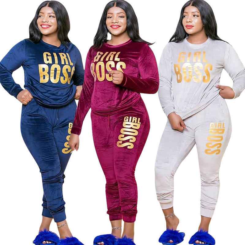 Vanci VC-20865V Hot Sell Amazon Velvet Girl Boss Print Two Piece Set Autumn Plus Size Clothing Women