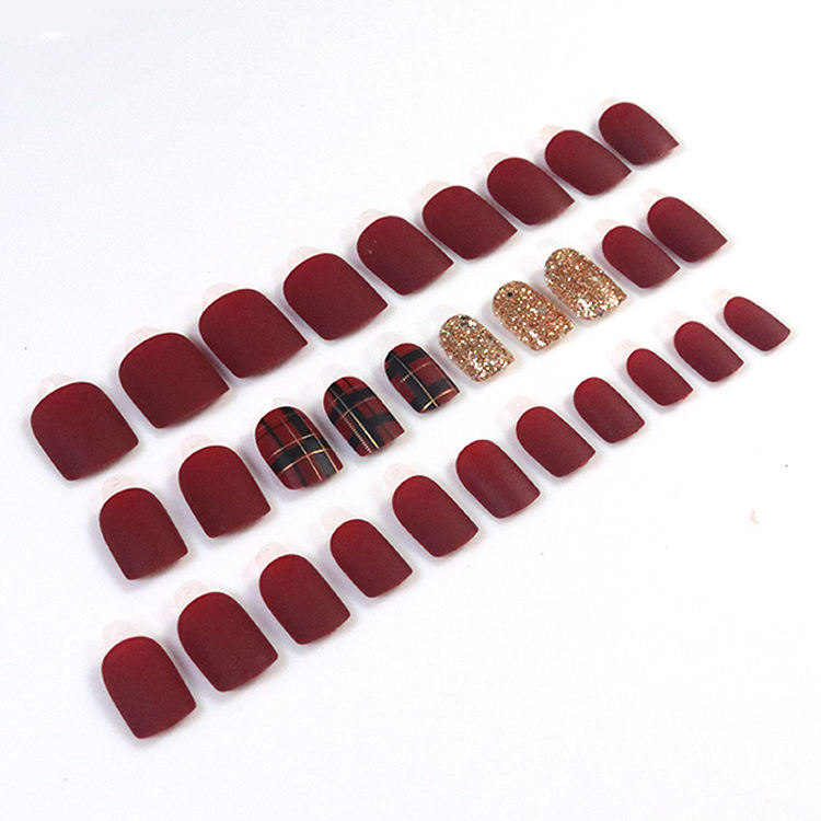 Wholesale 30pcs girls 3d artificial fingernails set private label custom nail forms short round press stick on nails with glue