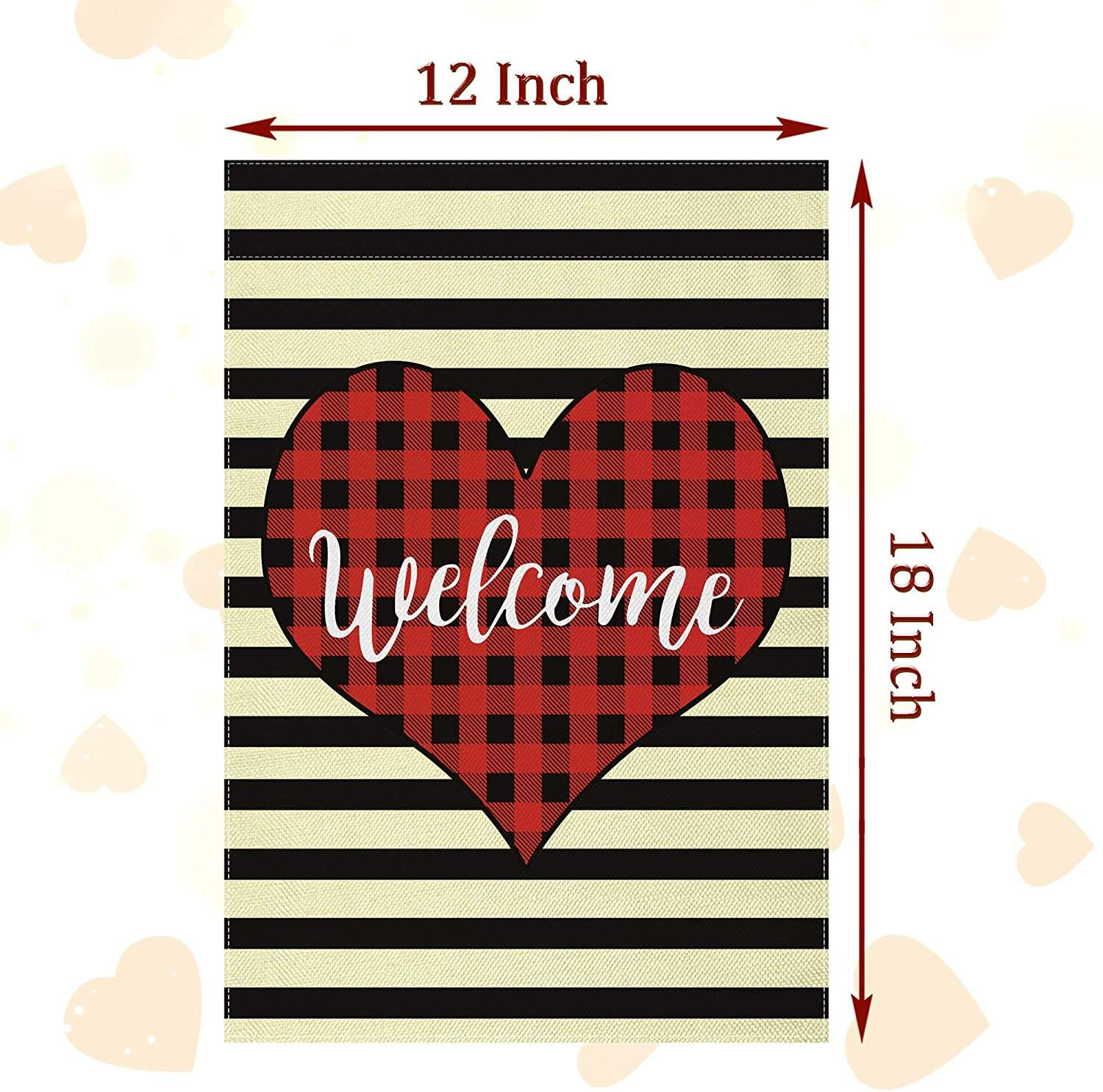 Valentines Day Garden Banner Love Heart Decor Plaid Welcome House Flag Double Sided Holiday Seasonal Garden Flag