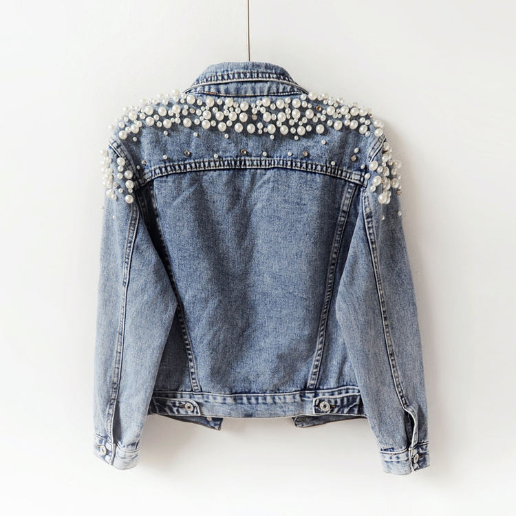 2020 Spring Autumn Women Basic Coats Women Denim Jacket Pearls Beading Fashion Jeans Coat Loose Long Sleeve Jackets