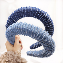 latest design denim headband fashion women 2020 hair accessories padded sponge headband