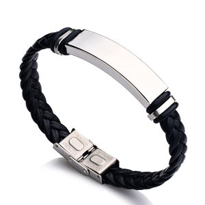 Couple Laser Engrave Name ID Personalized Stainless Steel Soft Leather Braided Rope Bracelet Custom