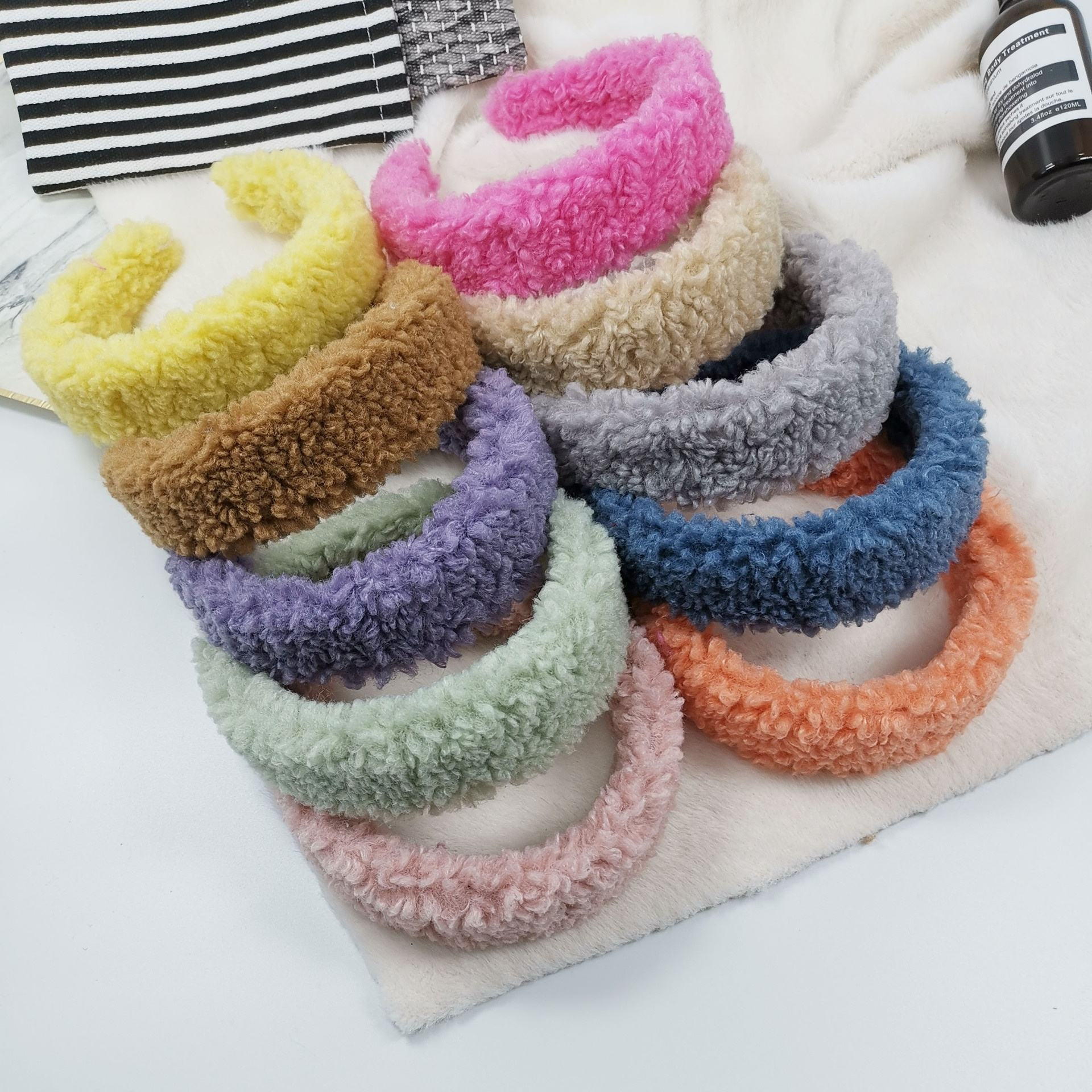 2020 New Wool Headband Winter Hairband Keep Warm Ins Candy Colors Hair Accessories Wide Plush Fur Headband