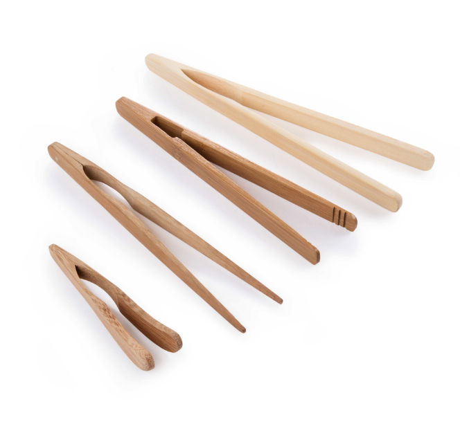 8 inch bamboo food barbecue clip & tong