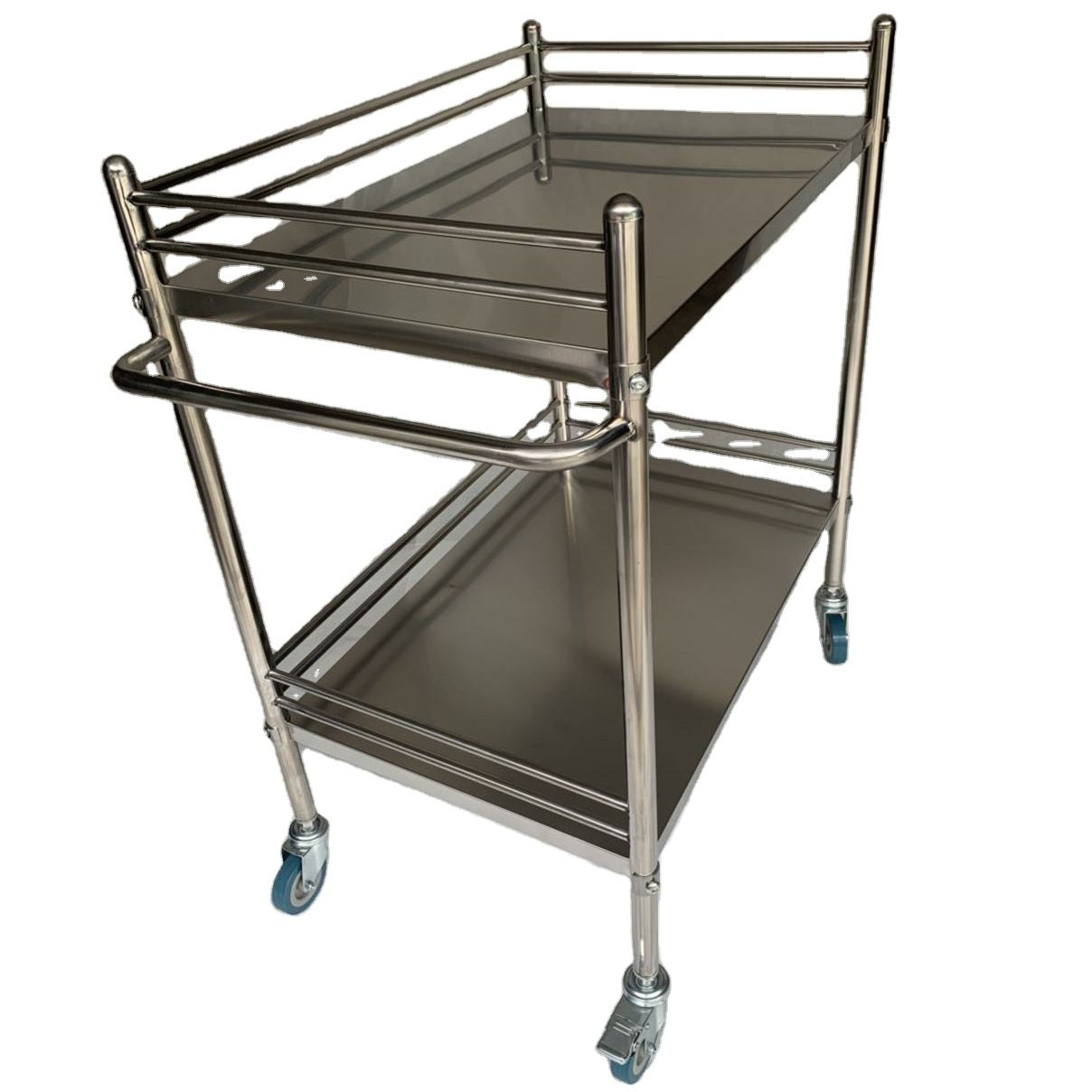 Good Quality 2-tier stainless steel instrument trolley clinic surgical trolley for hospital use