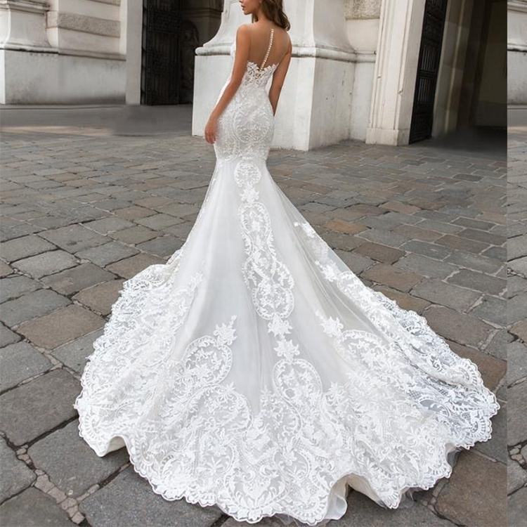 Guangzhou Manufacturer factory Custom Made Bridal Wedding Gown Elegance Mermaid Wedding dress China supplier
