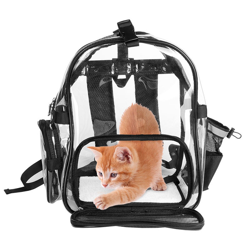 Pet Backpack Waterproof Clear Carrier Cat Bag PVC Transparent Pet Carrier for Dog Small Animals Outdoor, Traveling, Hiking