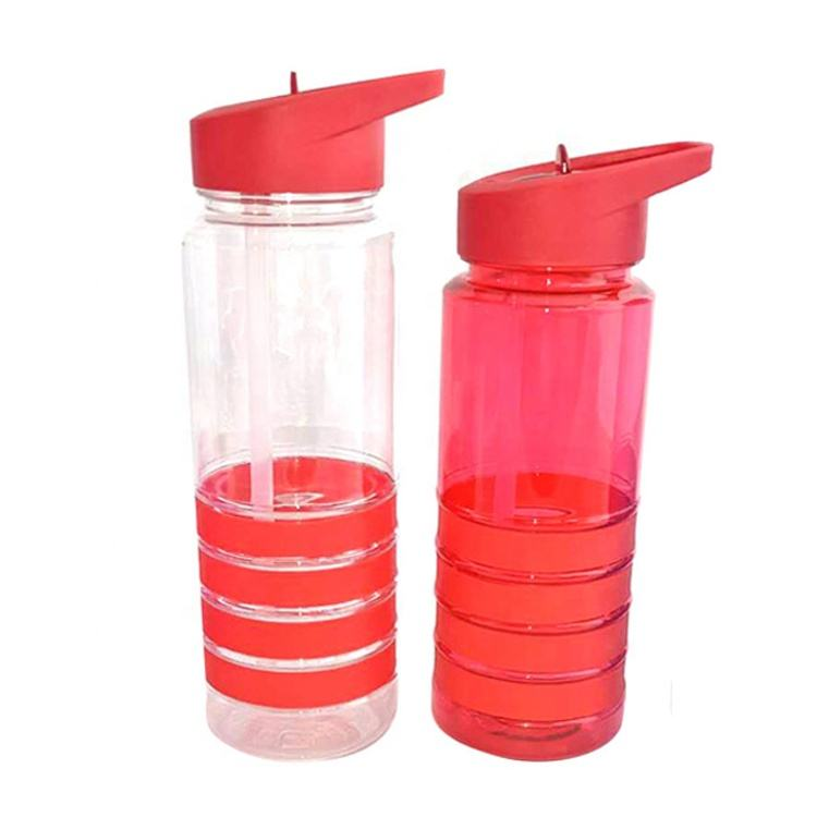 500/750ml Cheap plastic water bottles grip flip top lids sports bottle with straw