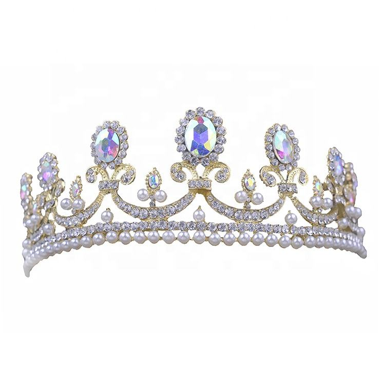 Wholesale silver gold rhinestone crystal crown pearl bridal wedding tiaras