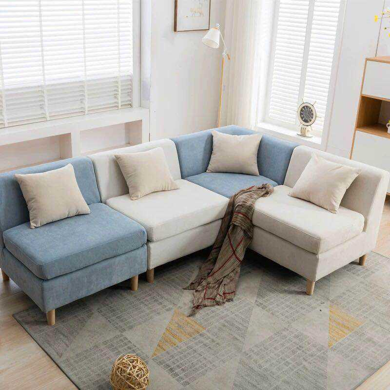 Simple and modern living room wooden sofas set Europe High Quality washable sleeper couch comfortable corner sofa set design