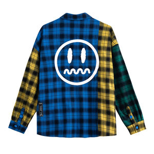 Hoge Kwaliteit Casual Losse Flanellen Oversize Nieuwe 2020 Mode Smiley Print Mannen Plaid Shirt