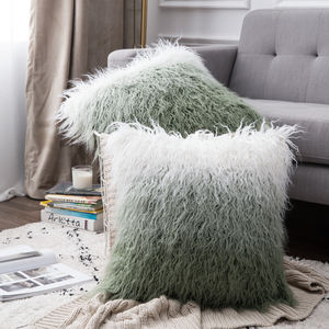 12by20 Brushed Luxury Fur Cushion Cover Faux Fur Throw Pillow Case Mongolian Pillow case for Car 2019 New Style
