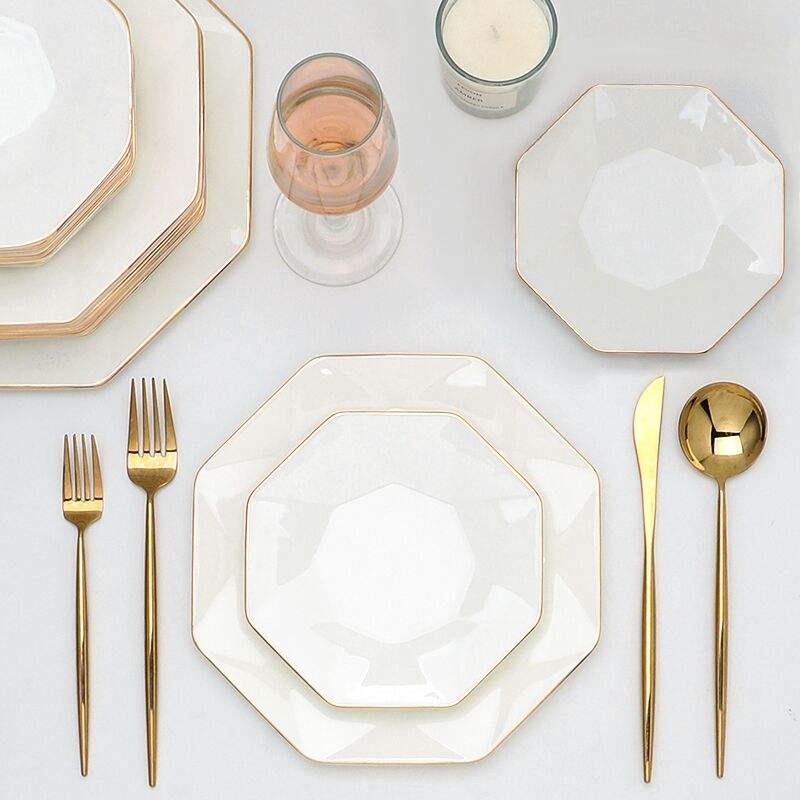 white Personal plate for restaurants porcelain tableware decorative gold rim Dinnerware+Sets luxury bone China dinner set
