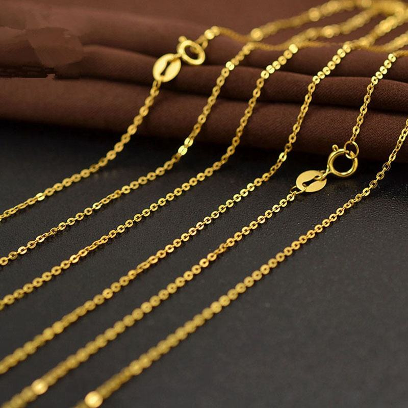 Spot AU750 Pure 18K Gold O Shaped Chain Necklace Jewelry Accessories