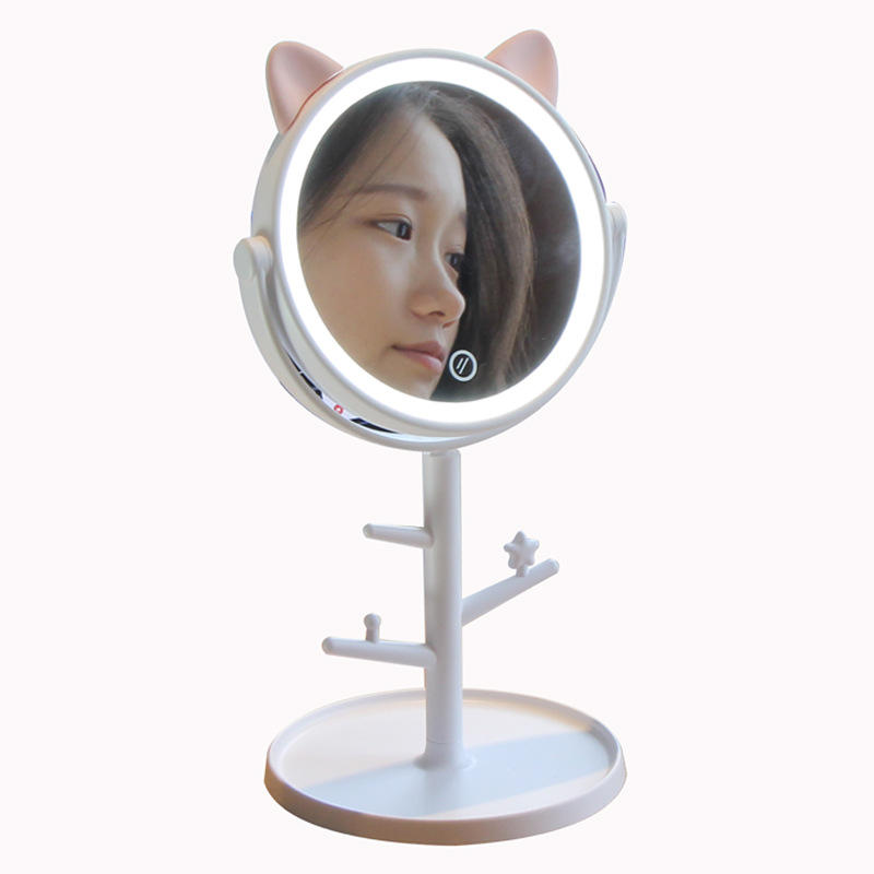 2020 New style vanity mirror wholesale women portable desktop smart touch screen light circle stand round led make up mirror