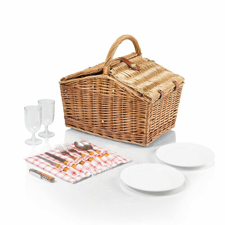 Wicker picnic basket natural woven double lids for 2 person storage hamper basket with handle customized wholesale