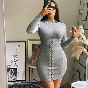 wholesale trendy fashion womens boutique casual fall clothing bodycon bandage dress