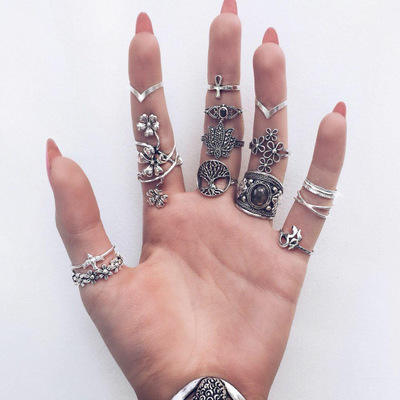 2020 Wholesale Fashion Accessories Designs Handmade Jewelry Women Pearl Turquoise Pilates Silver Rings Set