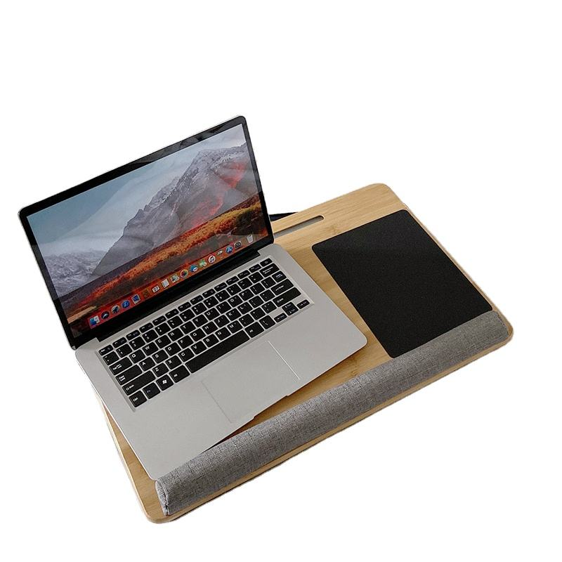 Factory Custom Bamboo Adjustable Study Lap Desk Laptop Table With Cushion