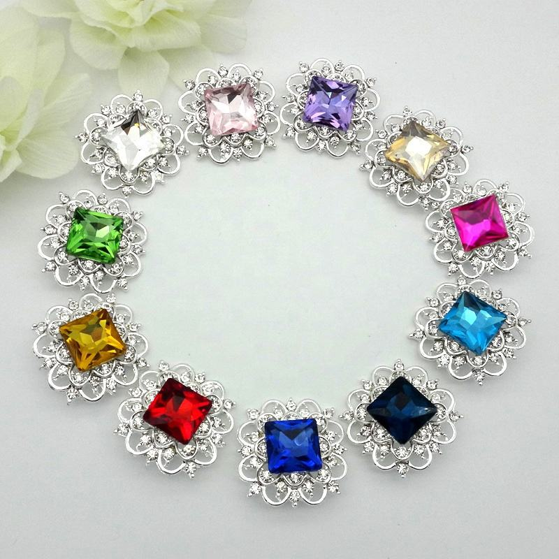 33mm 15colors Large GLASS Christmas Metal Rhinestone Buttons Square Rhinestones Wedding Bouquets Button ALRMM121
