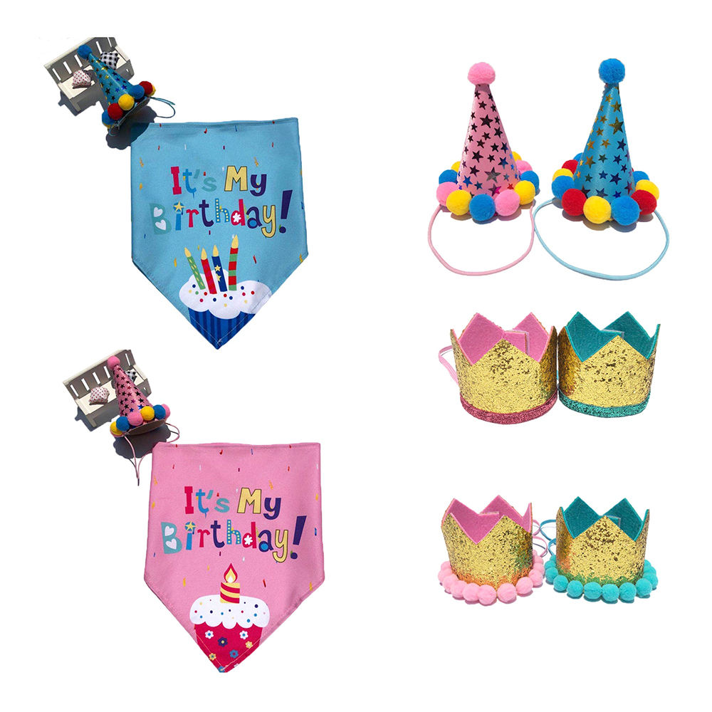 Factory direct pet birthday triangle scarf dog bandana and birthday party hat