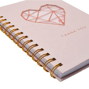 Custom Printing Cute Rose Gold Foil Hardcover Spiral Journal  Wholesale Writing Paper Notebook with Shakers