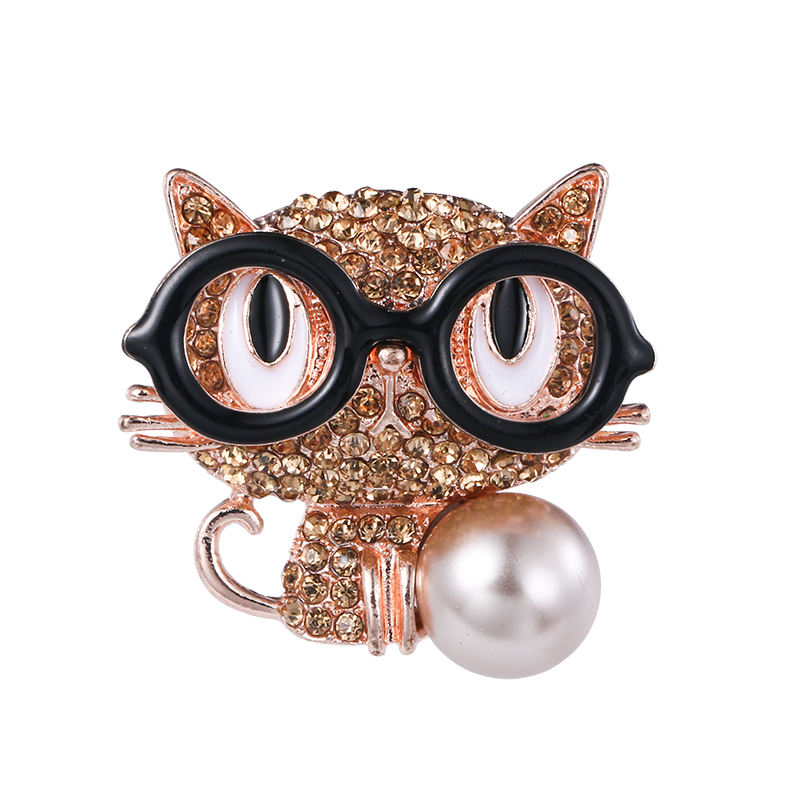 Factory Directly Sale Cartoon Animal Brooch With Black Glasses Design Metal In Rose Gold And Rhodium Cat Brooch