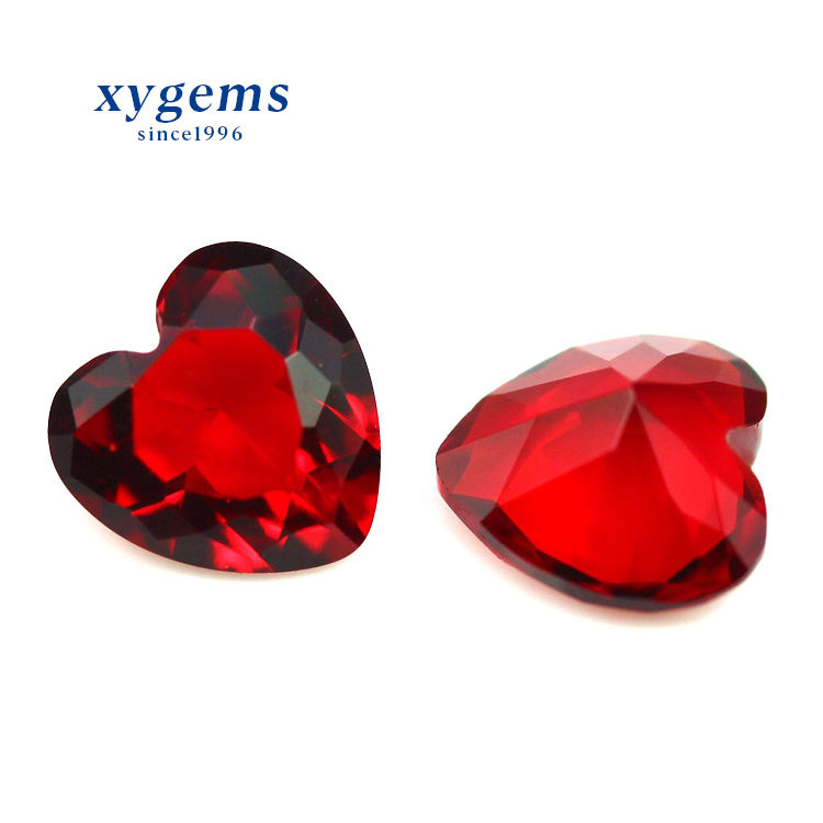 xygems Wuzhou Factory High Quality Red Heart Shape Glass Gesm Jewelry Stones
