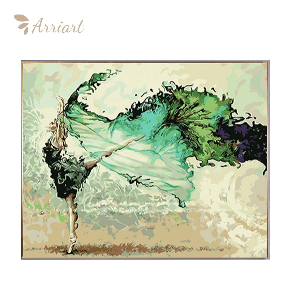 Dancing Wholesale Girl Oil Painting Canvas Wall Art Acrylic Diy Paint By Numbers With Frame For Bedroom