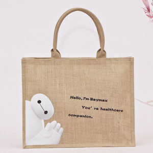 Jute Bag Wholesale Market In Kolkata Low Price Foldable Shopping Tote Cartoon Christmas Cheap Competitive Brand