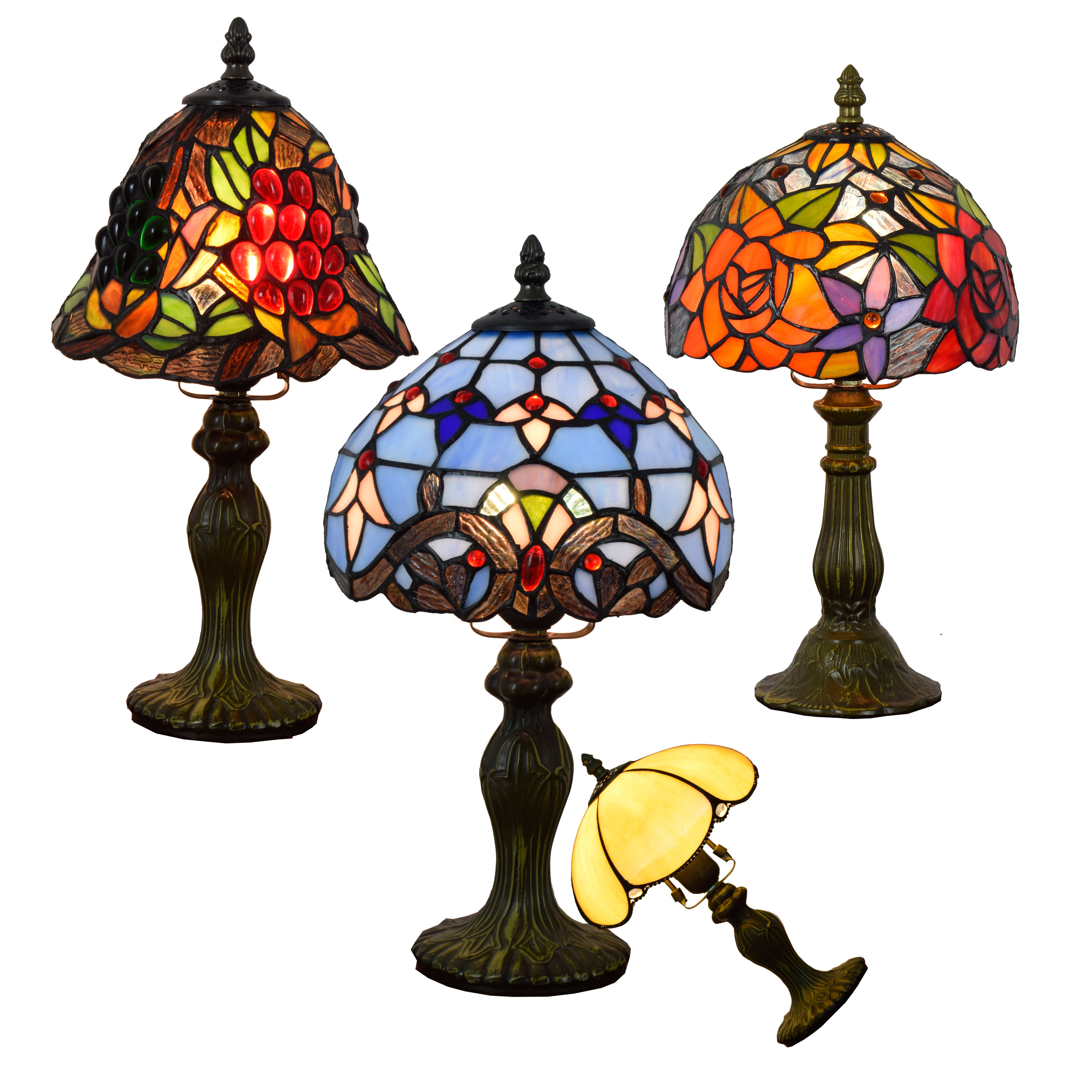 8 inch Retro creativity stained glass lampen bedside desk lamp bar study roses Baroque grapes night light tiffany table lamps