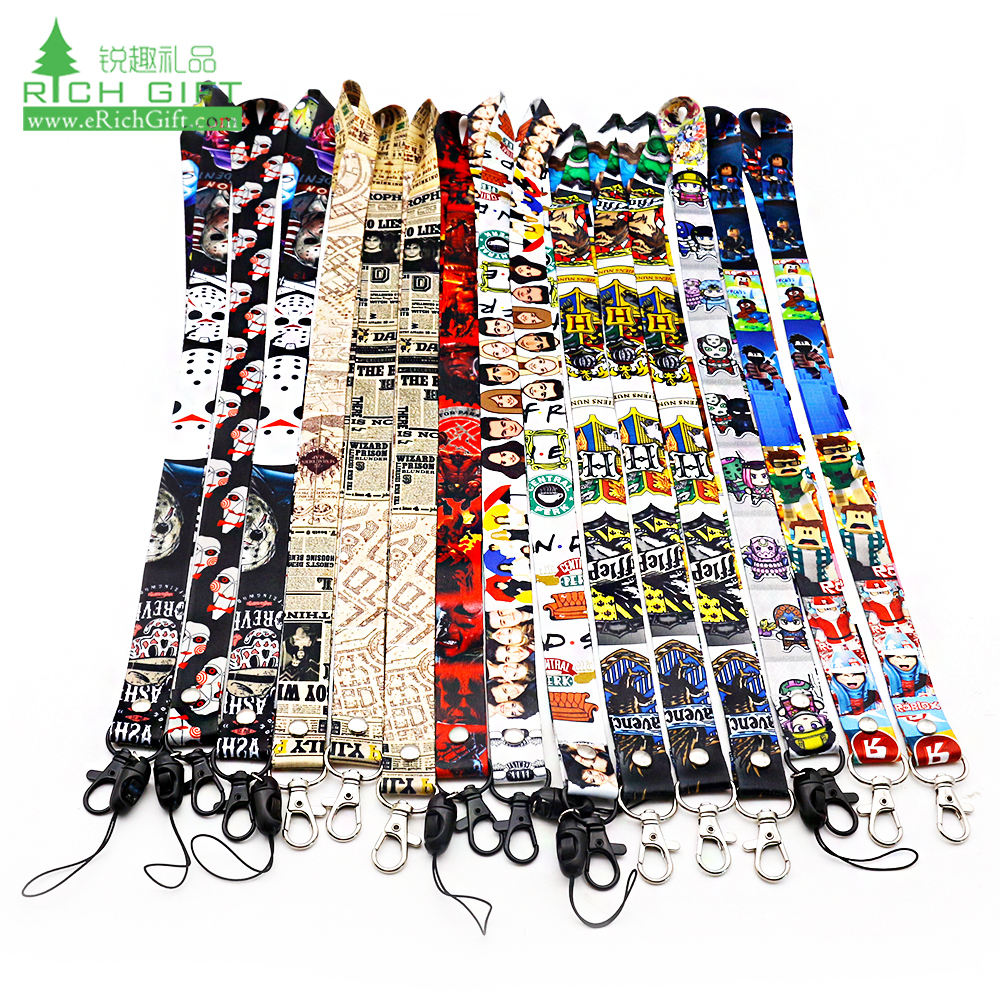 polyester custom kpop music idol bts film movie star cartoon anime lanyard hot heat transfer dye sublimation printing lanyards
