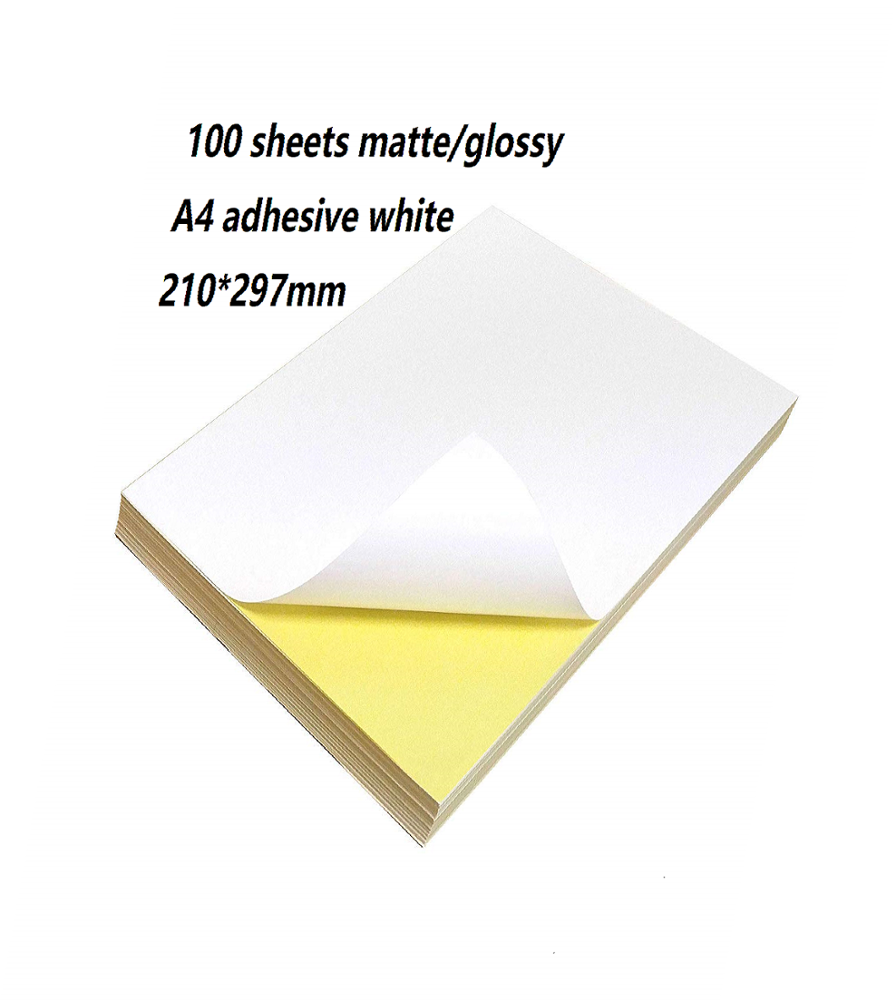 100 Sheets of Quality A4 White Matte/Glossy Self Adhesive Sticky Back Label Printing Paper A4 Sheet sticker