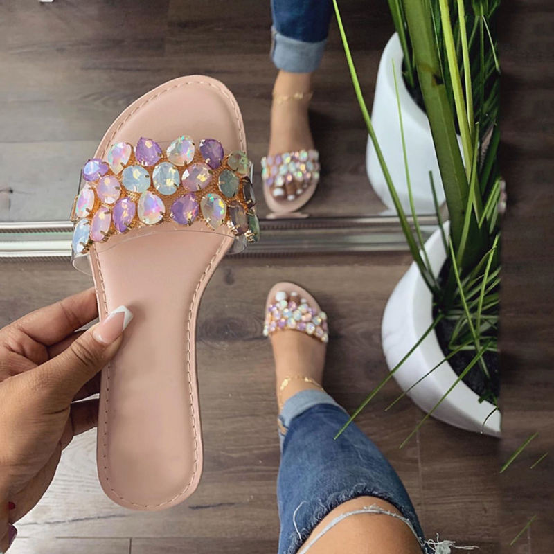 Wholesale Summer Flat Diamond Slipper New Design Latest Ladies Fashion Beach Woman Shoes Sandal