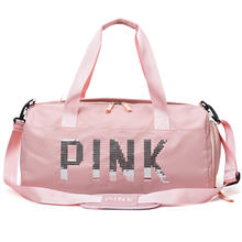 Hot sale travel large capacity customizable logo fitness sports packaging big pink travel gym bag for travel dry wet separation