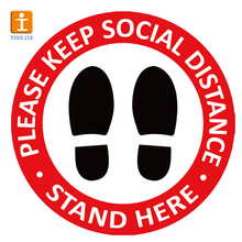 Customized design 12 inch removable waterproof keep your distance social distancing floor stickers