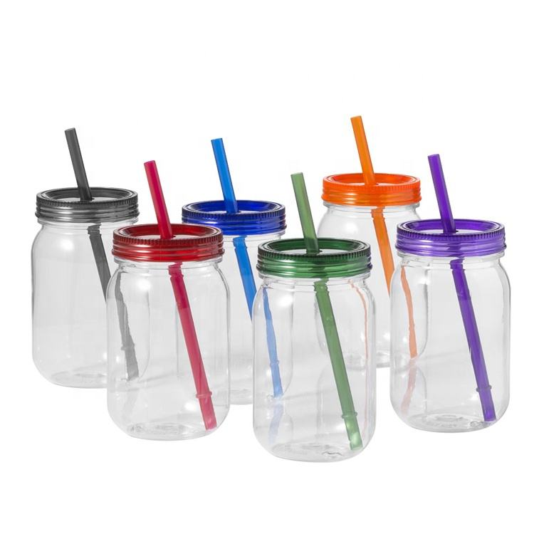 In Stock single wall cold drink using acrylic plastic mason jar with plastic lid 18 oz