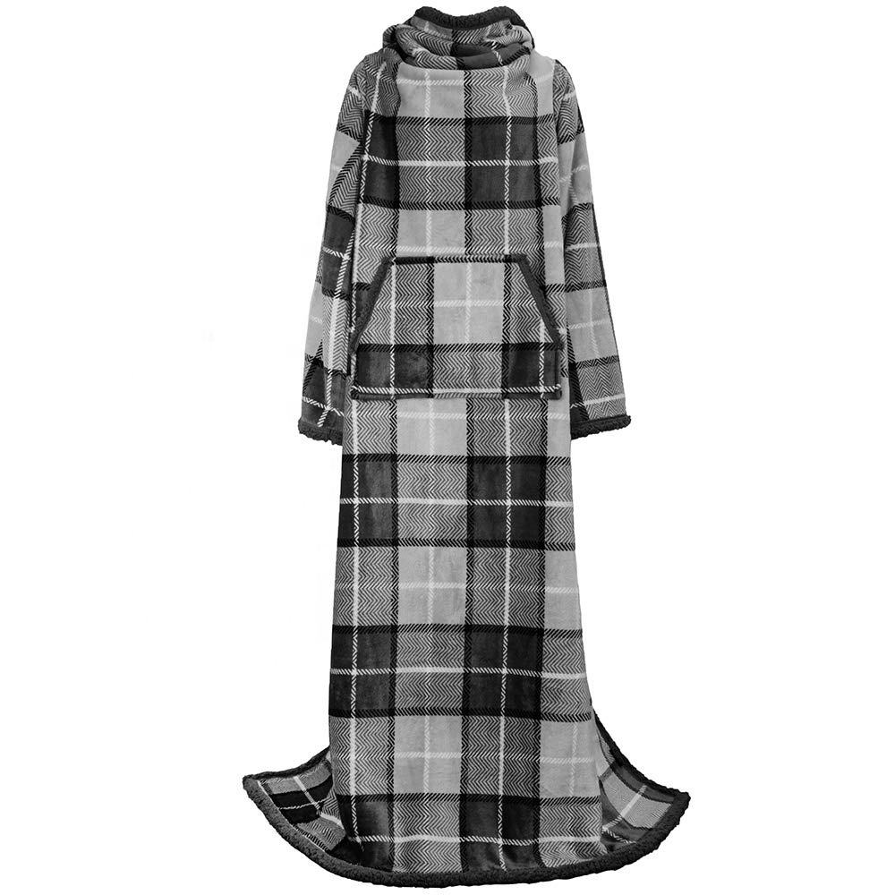 Double layer flannel fleece and sherpa super soft Throw Tv Snuggie Wearable blanket with sleeves
