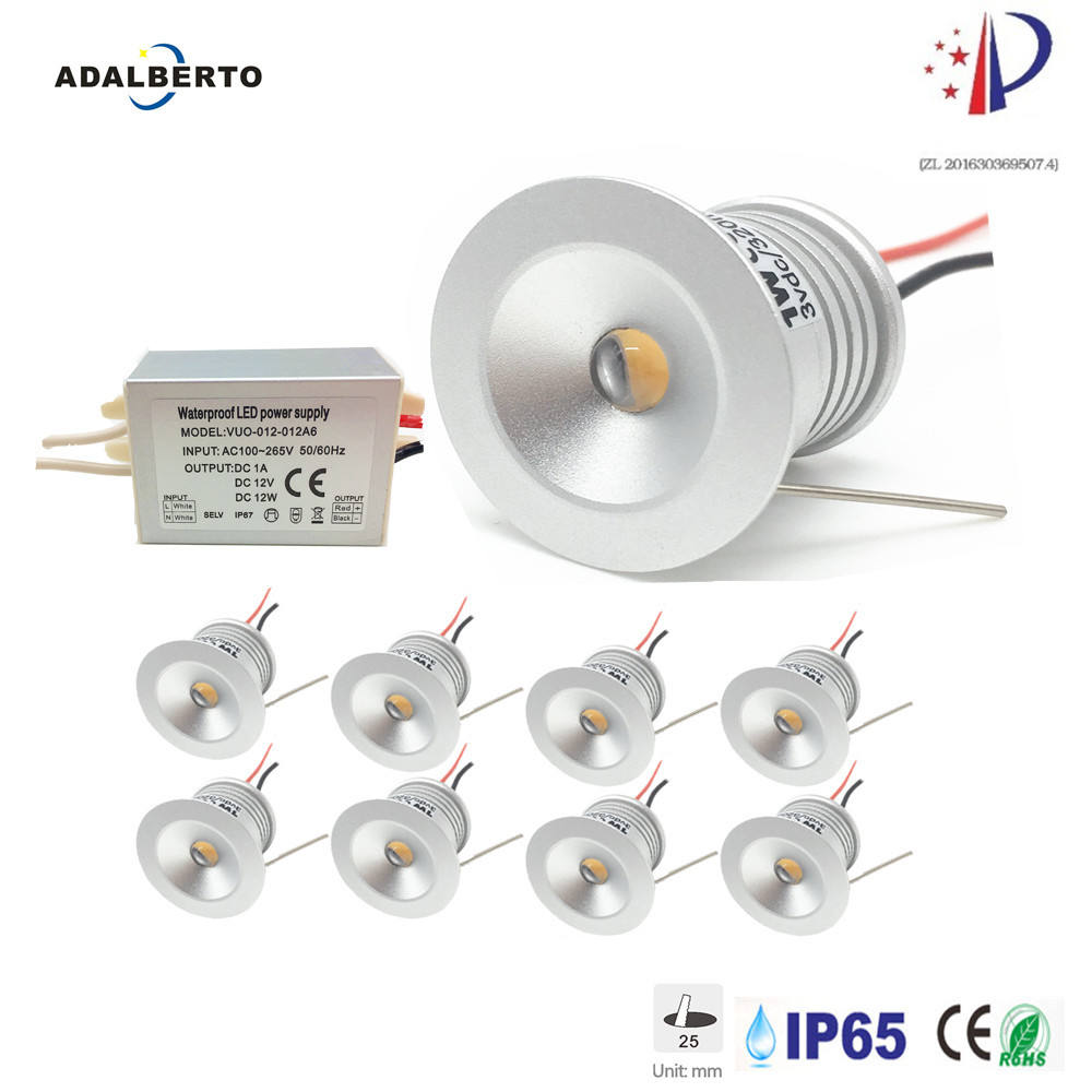 8PCS 1W 12V Mini LED Spotlight Recessed Downlight 25MM Spot Lighting Indoor Ceiling Lamp Focos Cabinet Gazebo Lights with Driver